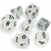 Clear & Black Frosted Polyhedral 7 Dice Set